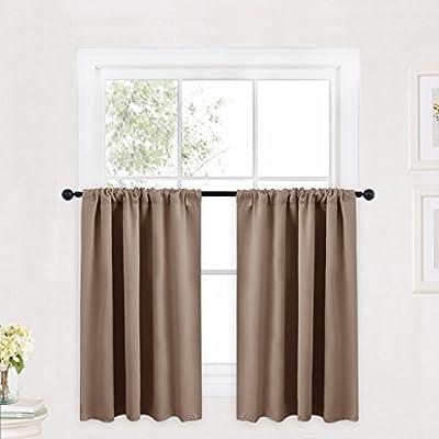 RYB HOME Rod Pocket Blackout Curtains Tier Set, 1 Pair