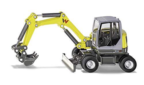 siku 3560, Wacker Neuson EW65 Mobilbagger, 1:50, Metall/Kunststoff, Gelb, Viele Funktionen, Beweglicher Baggerarm, Bewegliches Schieberschild