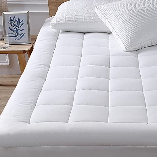 """Full Mattress Pad Cover Pillow Top with Stretches to 18"""" Deep Pocket Fits Up to 8""""-21"""" Cooling White Bed Topper (Down Alternative, Full Size)"""