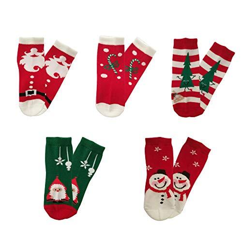 5 Pack Kids Christmas Socks Boys Girls Toddler Baby Adult Family Cotton Xmas Socks