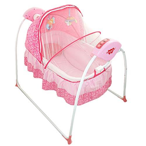Thole Babywiege Schaukel Elektro StäNder Rocking Music Fernbedienung Schlafkorb Bett Neugeborenen Sway Baby Schaukel,Pink