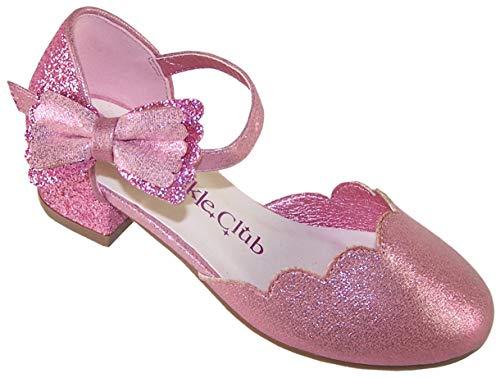 Zapatos de tacón para ocasiones especiales de fiesta de color rosa para niñas con adorno desmontable, color Rosa, talla 30 EU
