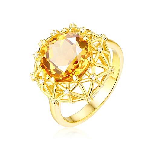 Epinki Mujer 18K Oro Amarillo Anillo 4ct Citrina Redonda Hueco Redondo Anillo Señora Compromiso/Aniversario Talla 22