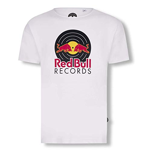 Red Bull Records Vinyl Camiseta, Blanco Hombre X-Large Top,