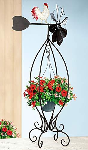 Ferrum windmolen XXL windspel tuindecoratie bloemenstandaard kraan windmolen weerbestendig materiaal: metaal - Afmetingen: H 142,5 cm - B 48 cm - L 53 cm