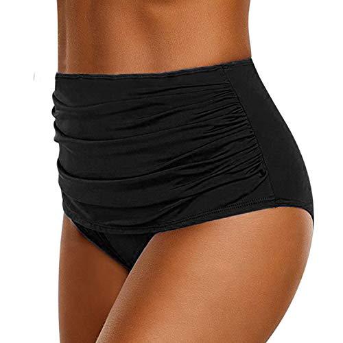semen Damen Badehose Vintage Hohe Taille Falten Einfarbig Elegant Bikini Slips Strand Urlaub Bikinihose Unterteil