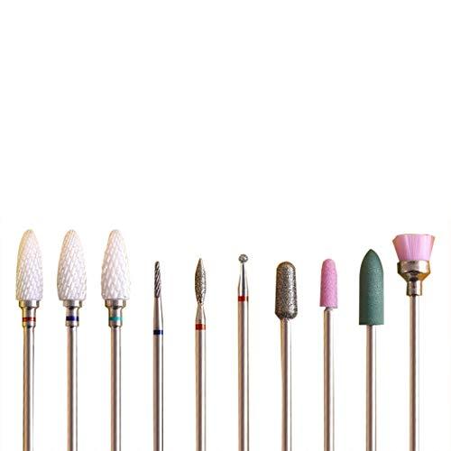 Fanspack 10Pcs Nail Drill Bit Set Creative Nail Art Tool Nail Drill Tool Nail File Bit