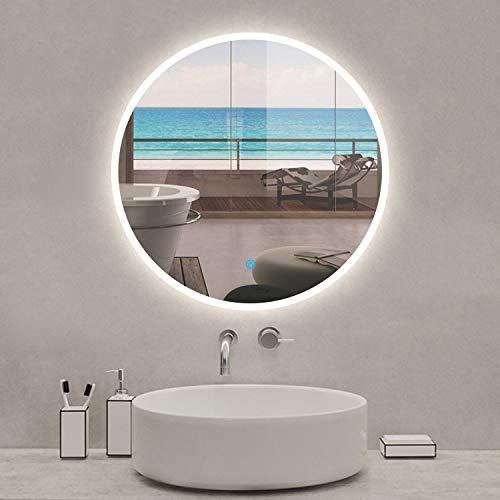 Espejo Redondo de Baño con Iluminación Led Interruptor Táctil Espejo de Pared con Función Antivaho Baño y Dormitorio