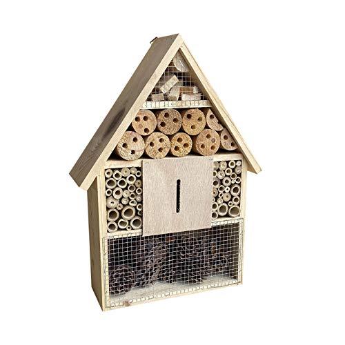 Insektenhotel hängend 285 x 90 x 385 mm, Nisthilfe für verschiedene Insekten in Naturfarben