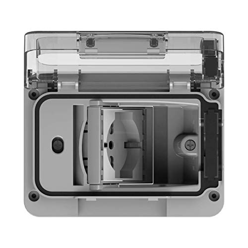 4Box 4B.W.RAL.015, Wide IP55, Presa Elettrica da Esterno per Scatola da Incasso Tipo 503 con Schuko Bivalente, Grigia