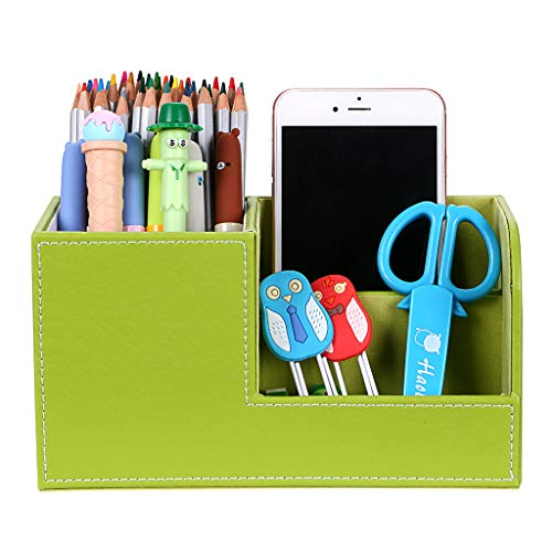 BTSKY Desk Pen Pencil Holder Leather Multi-function Desk Stationery Organizer Storage Box Pen/Pencil, Cell phone, Business Name Cards Remote Control Holder Office Home Accessories Organizer Green