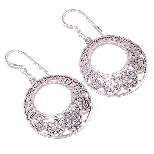 Pendientes de luna, chapados en plata, hechos a mano, el mejor regalo para mujeres y niñas.