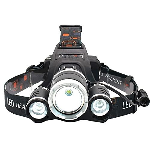 OhhGo Linterna de cabeza, recargable por USB, resistente al agua, para adultos, 3000 lúmenes, linterna LED para adultos, para correr, camping, senderismo, pesca (5,5 x 8,4 x 3,3 cm)