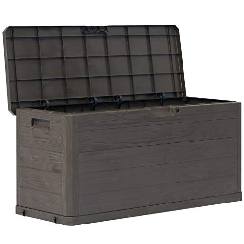 Lechnical Outdoor Storage Box 280L Garden Storage Shed Weather-Resistant Plastic Garden Storage Box Large, Brown