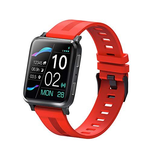 RNNTK para Hombre Mujer Reloj Inteligente, 1.54in Pantalla Táctil Impermeable Smartwatch con Llamadas Bluetooth Pulsómetro,para Android iOS Rastreador De Actividad Smartwatch Fitnes-Rojo