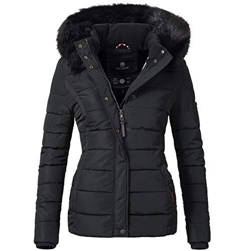 Navahoo Damen Winter Jacke Steppjacke mit abnehmbarem Kunstfell Miamor Schwarz Gr. S