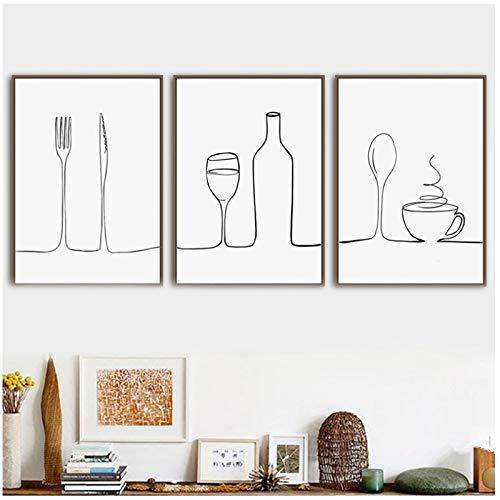 Jin Yi Global Muurkunst canvas schilderij lijn koffie rode wijn messen en vork Nordic poster en afdrukken beelden restaurant decor op canvas 30x40cm(11.8