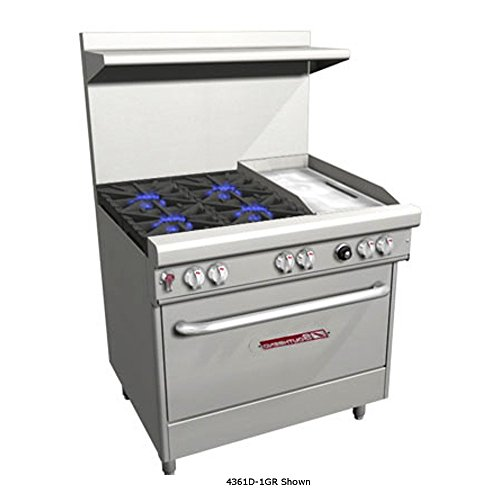 "Southbend 4361A-1GR 36"" Ultimate Restaurant Gas Range w/ 4 Non Clog Burners, 12"" Right Griddle & Convection Oven"