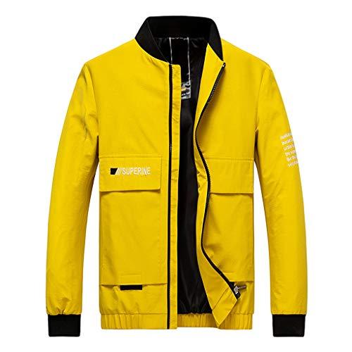 ღJiaMeng Herren Herbst Winter Warm Halten Mantel Mode Freizeit Druck Jacke Stehkragen Reißverschluss Sweatshirt Outdoor Sport Sakkos