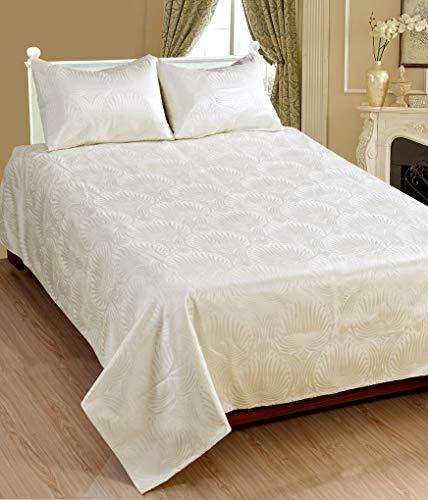Saral Home Fashions Luxuriöses 3-teiliges klassisches bedrucktes Tagesdecken-Set, Damast-Decke – Fransen-Bordüre, Quilt-Set, entsprechende Standardgröße (voll, elfenbeinfarben)