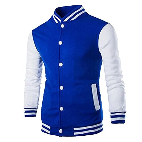 Singolo Casual Baseball Uniforme Cappotto Bomber Giacca Uomo Manica Abbigliamento Pile, Blu, L