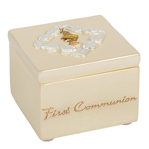 First Communion Gold Tone Chalice Design Small 1.5 inch Decorative Table Top Rosary Jewelry Box
