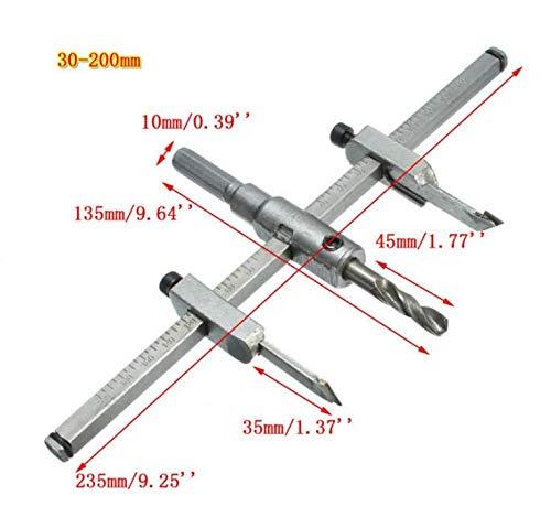 DaFFeng Ajustable 30-130Mm / 30-200Mm Circle Hole Saw Drill Bit Cutter Kit Diy Tool - 200Mm