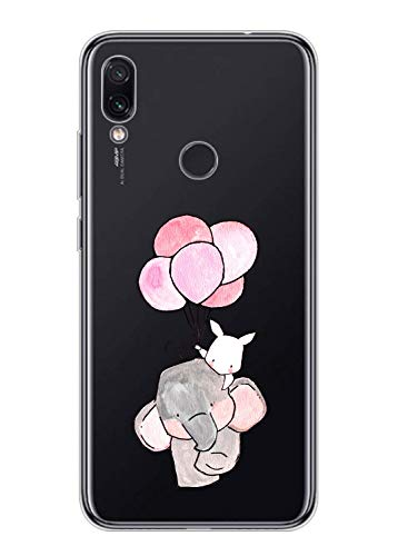 Oihxse Kompatibel mit Hülle Motorola Moto G5 Plus Silikon,Moto G5 Plus Hülle Transparent,Stoßfest Anti-Scratch TPU Soft Handyhülle Durchsichtige [Süß Elefant-Hase] Schutzhülle Bumper Cover (A15)