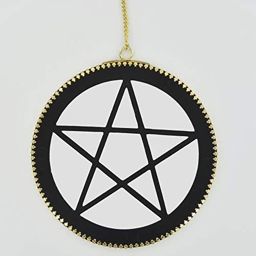 Fiesta Studios Pentagram wandspiegel met messing ketting plaque Wicca item Alter accessoire