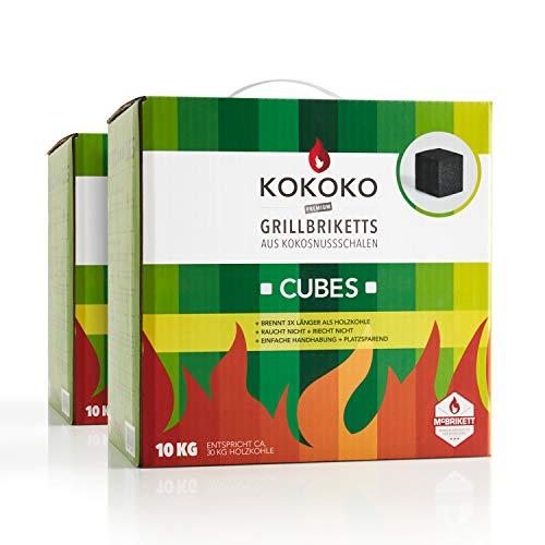 Preisvergleich Produktbild McBrikett KOKOKO Cubes 2 x 10kg,  Premium Kokoskohle,  rauchfrei & Lange Brenndauer,  ideal für Minion-Ring