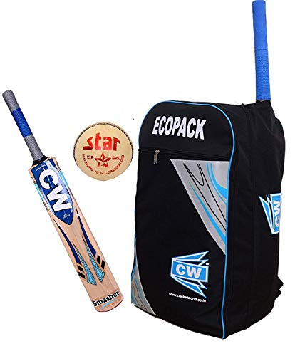 3M IPL Cricket-Set Kashmir Willow Senior Size Kit (Leder 4 PC Ball Hard + Ecopak Duffel Backpack Bag Hard) für 13+ & Jungen (Jugendliche) Trainingsset