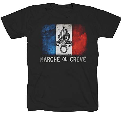 T-Shirt Chemise militaire armée France Légion Élite française Noir Large