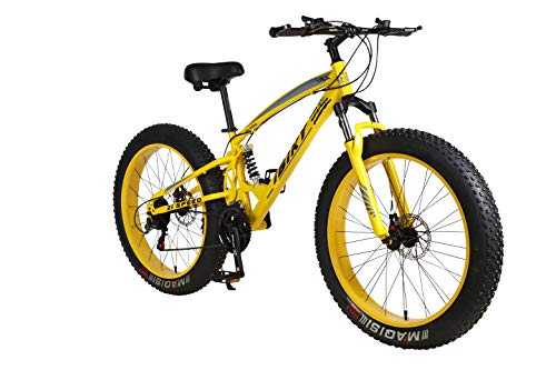 ibiky 26 inch Mountain Bike,Hybrid Fat Tire Snow Bicycle with 21 Speed and Suspension/Dual Disc Brake(Yellow)