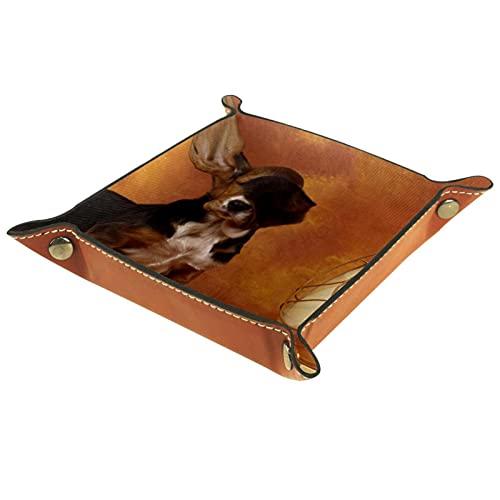 Bandeja del valet del almacenamiento del escritorio, almacenamiento plegable de cuero de la joyería de la bandeja orejas de perro batiendo viento para escritorio, oficina, llave, joyería