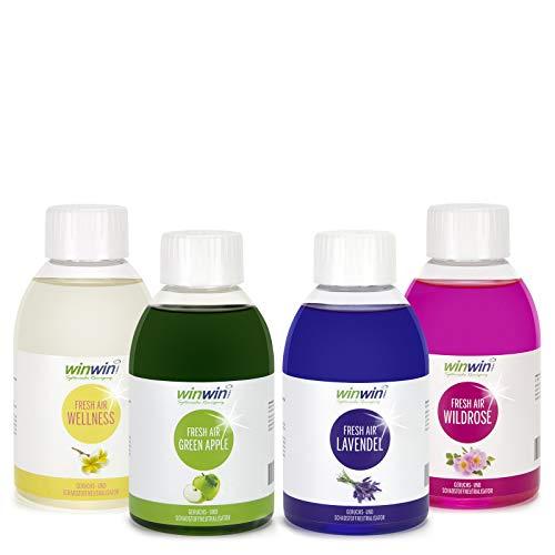 winwin clean Systemische Reinigung - 4ER Set 4 X 250ML I Fresh AIR LUFTREINIGUNGS-Konzentrat I Wellness I Green Apple I Lavendel I WILDROSE