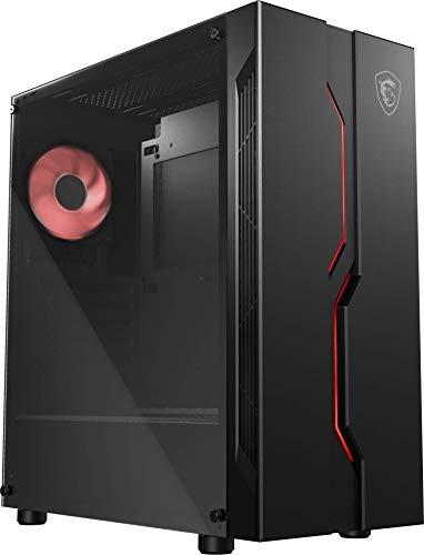 MSI MAG VAMPIRIC 010M Mid Tower Gaming PC-Gehäuse, 1 x 120 mm RGB PWM Lüfter, RGB-Frontscheibe, gehärtetes Glas, ATX, mATX, Mini-ITX - 306-7G08P12-809, Schwarz