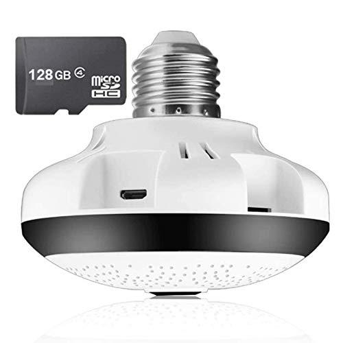 HLSH Cámara De Bombilla, 1080P Fisheye 360 ° Panorámica Inalámbrica WiFi Cámara IP, Vigilancia Versión Nocturna CCTV Vigilancia De Seguridad Iluminación Interior(Size:Camera +128G)