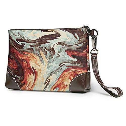 Hdadwy Mármol mixto marrón impreso mujeres bolsos monederos carteras cuero embrague bolsas 8 pulgadas x 5.5 pulgadas x 1.5 pulgadas