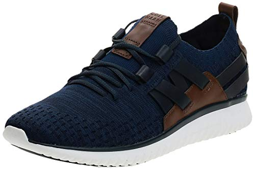 Cole Haan Men's Grand Motion Woven Stitchlite Sneaker, Navy Ink/Peony Knit/British Tan/Optic White, 12