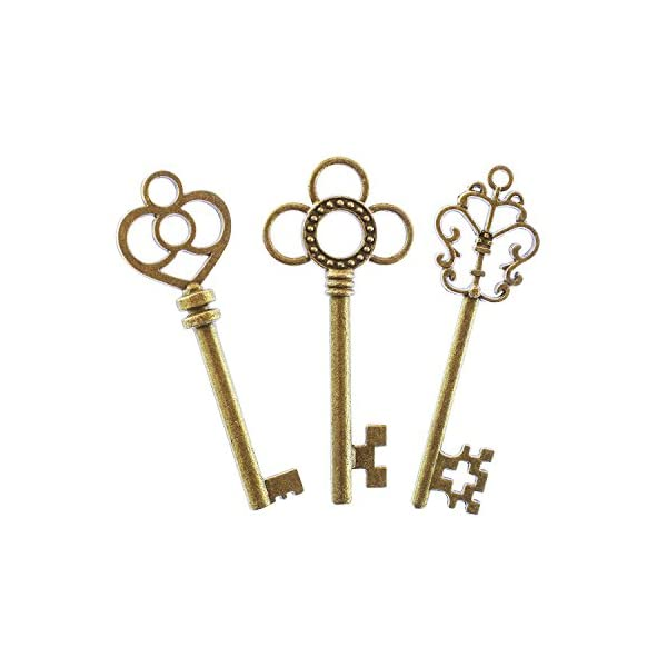 Antique Style Bronze Brass Skeleton Castle Dungeon Pirate Keys for Birthday Party Favors, Mini Treasure Toy Gifts… 5