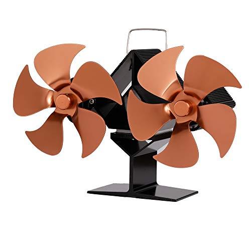 Ventola per stufa a legna – 2020, mini ventilatore a legna a 10 lame, doppio motore a 10 pale per stufe a legna, stufa a legna, camino, con termometro (bronzo)