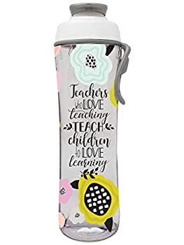 Teacher Water Bottle - BPA Free - Best Christmas Gift for Teachers - Give Bottles As Thank You Gifts & Appreciation for Teachers - Easy Carry Loop - Made in USA  24 oz Teacher Floral