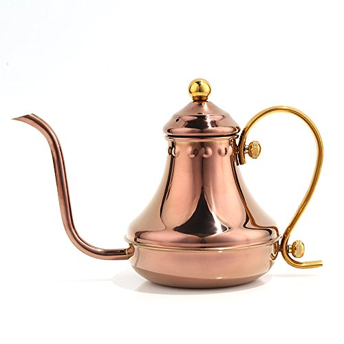 Pour Over Coffee Pot Drip Kettle - Stovetop Kettle Made of Premium Stainless Steel Gooseneck Swan Neck Design Tea Kettle , 430ml (Rose Gold)