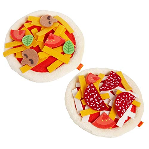 HABA Biofino Mini Pizza's - Two Small Pies with Loads of Fabric Toppings - Perfect for Pretend Role Play for Little Chefs Ages 3+