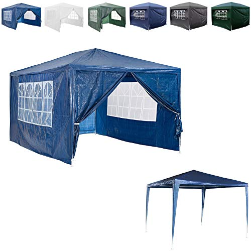 AutoBaBa 3mx3m Garden Gazebo Marquee Tent for All Seasons, with 4 Side Panels, Waterproof Rainproof, Powder Coated Steel Frame for Outdoor Wedding Garden Party Camping, Blue