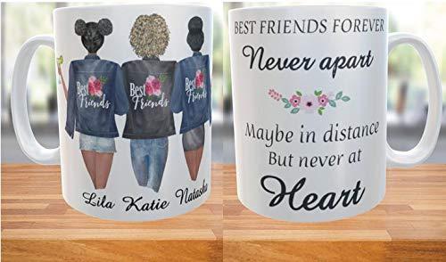Generic - Three Best Friends Forever Ceramic Mug, Custom Best Friend Mug, Personalized Best Friend Gift