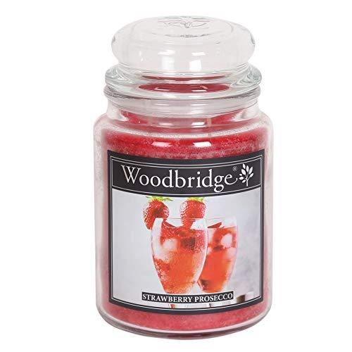 Woodbridge 2-Docht Duftkerze im Glas – Strawberry Prosecco (565g) - Der fruchtige Cocktailduft für Dein Zuhause – Frühling/Sommer Duft - bis zu 130 Stunden Brenndauer