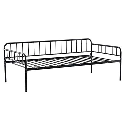 MLL New Metal Daybed Twin Size Bed Frame High Bed Bottom Enough Storage Space Black