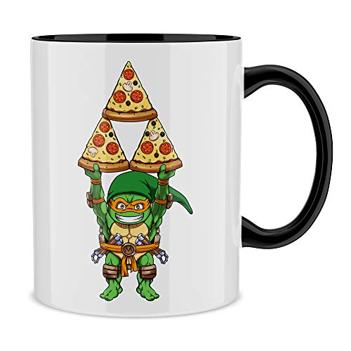 OKIWOKI Taza con asa Negra e Interior Negro Parodia de Las Tortugas Ninja - Zelda- Michelangelo aka Link (Taza de Primera Calidad - Impresa en Francia - Réf : 1082)