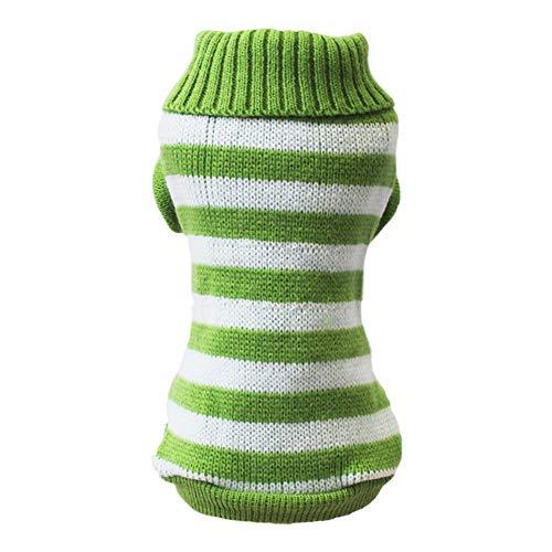 Dog Jumpers Medium Pet Cat Sweater Pet Striped Clothes Pet Clothes Dog Cat Striped Pet Jumper Green Xs Size Sweater